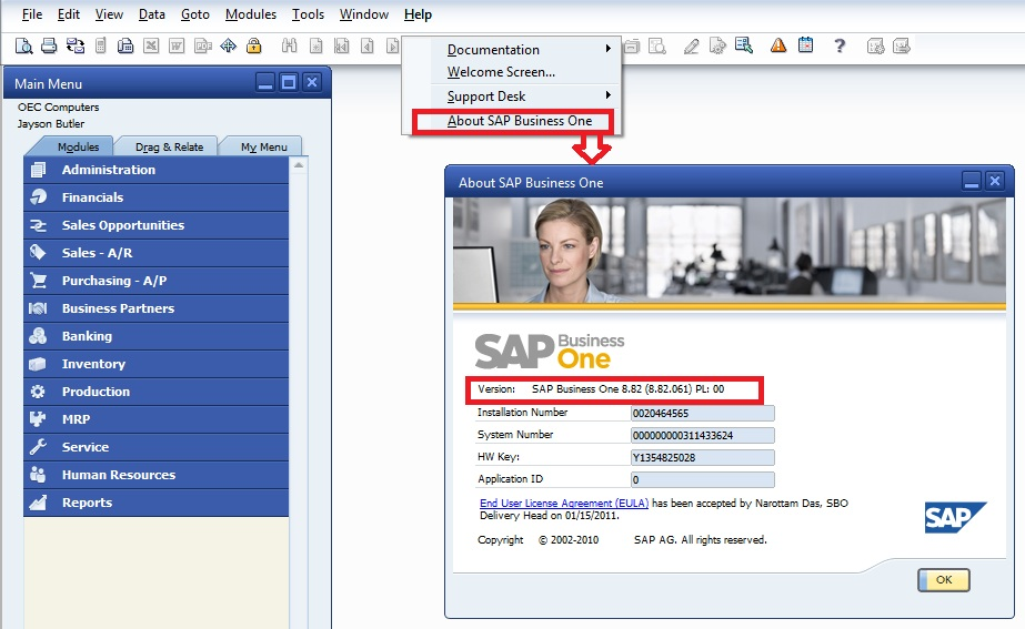 Upgrade to SAP Business One 9.0 - How to check current sap b1 version