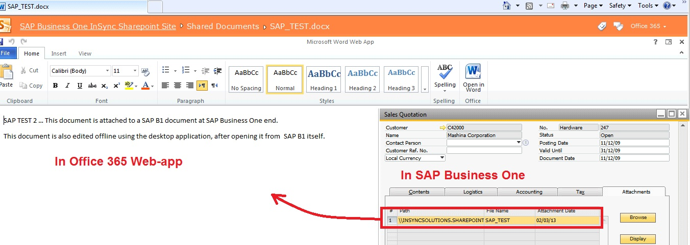 SAP Business One 9 0 with Microsoft Office 365